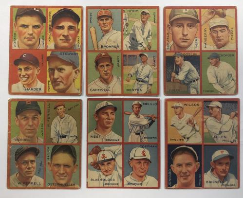 1935 Goudey 4-in-1 #32-9 Joe Vosmik/Bill Knickerbocker/Mel Harder/Lefty Stewart/9I (Washington Senators Puzzle)