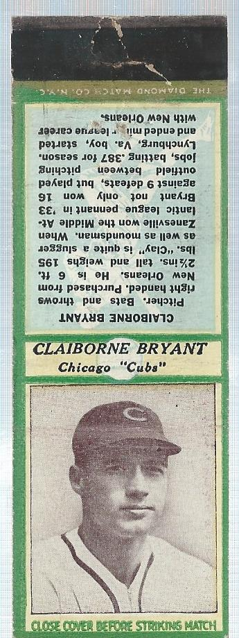 1936 Diamond Match Co. Series 3 Type 2 #1 Claiborne Bryant