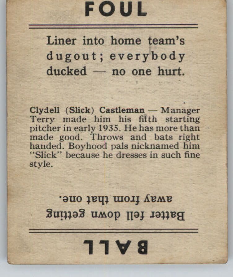 1936 Goudey Black and White #6 Clyde Castleman XRC back image