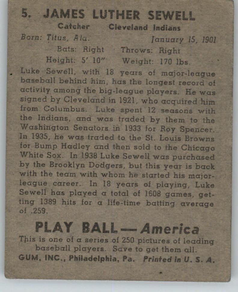 1939 Play Ball #5 Luke Sewell back image