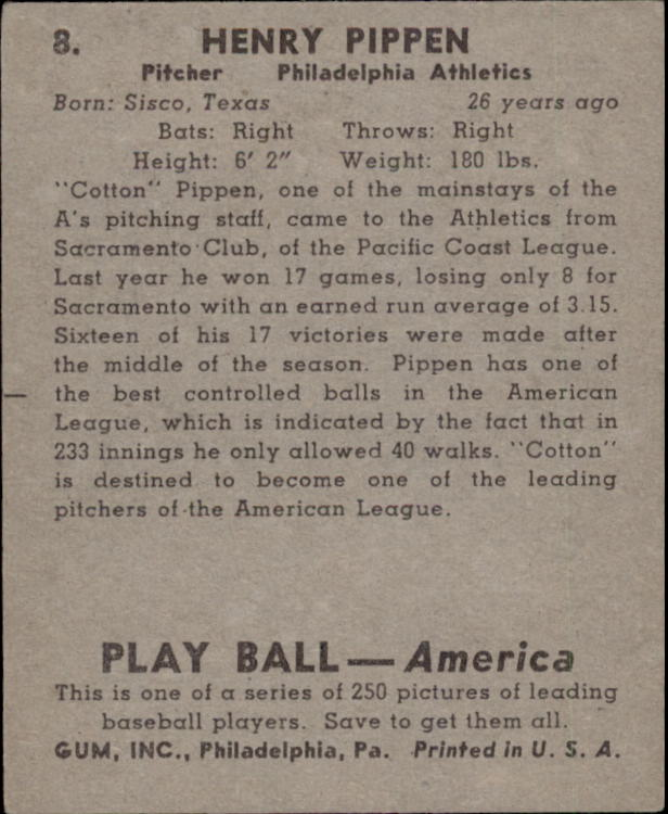 1939 Play Ball #8 Henry Pippen RC back image