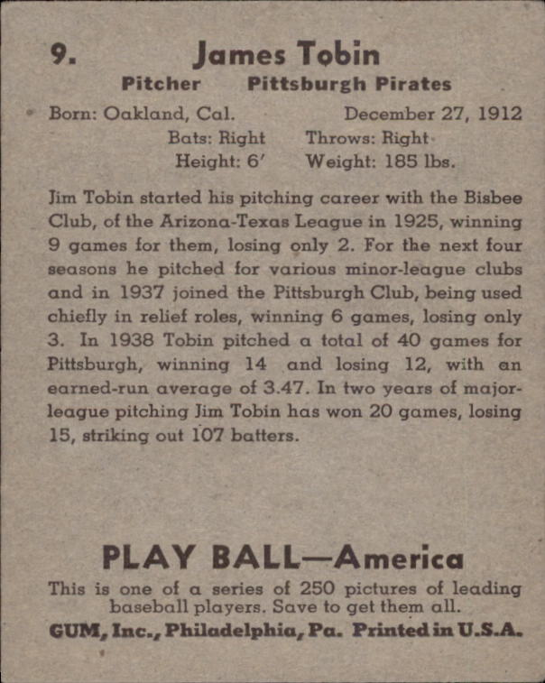 1939 Play Ball #9 James Tobin RC back image