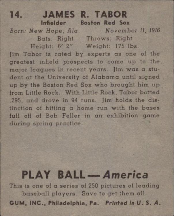 1939 Play Ball #14 Jim Tabor RC back image