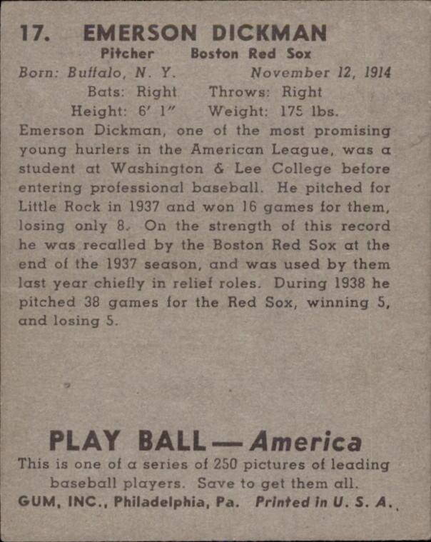1939 Play Ball #17 Emerson Dickman RC back image