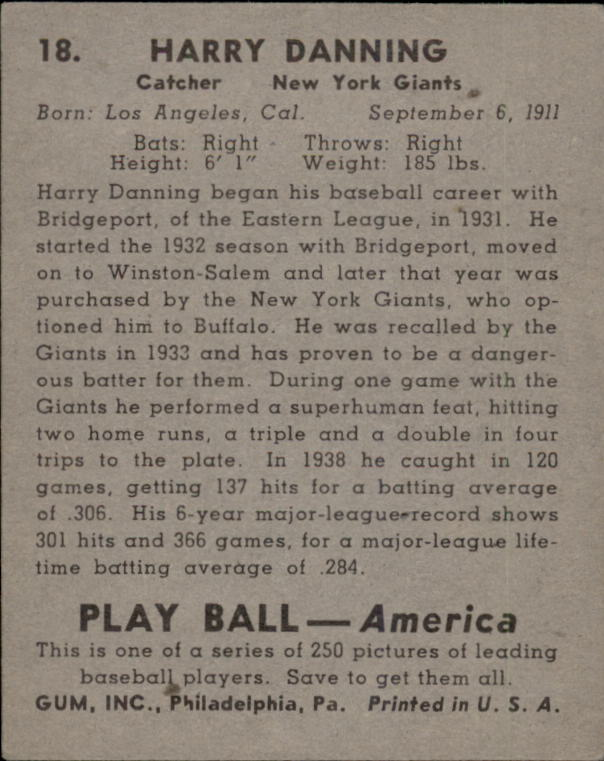 1939 Play Ball #18 Harry Danning RC back image