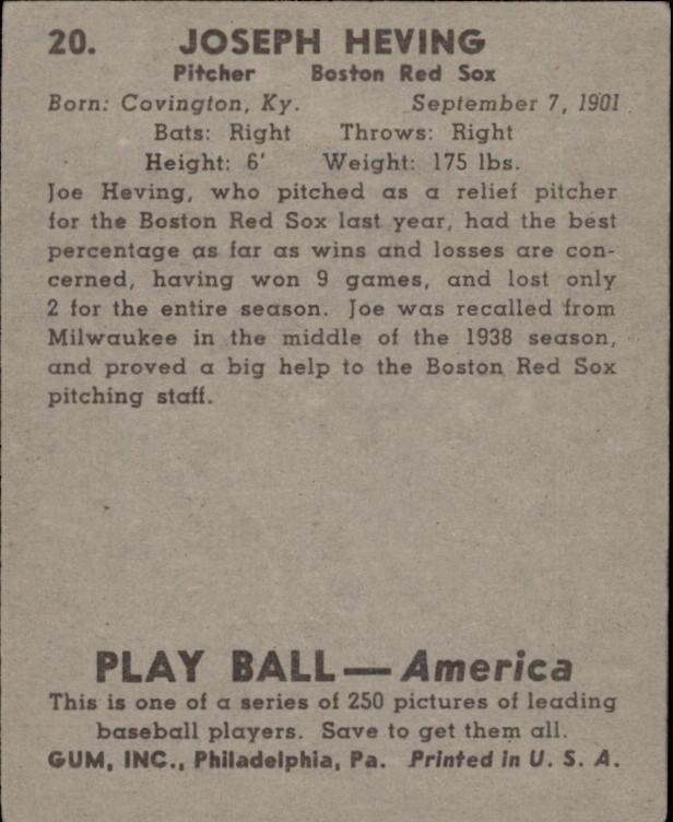 1939 Play Ball #20 Joe Heving RC back image