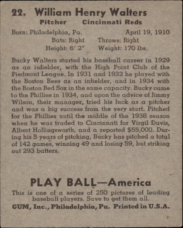 1939 Play Ball #22 Bucky Walters RC back image