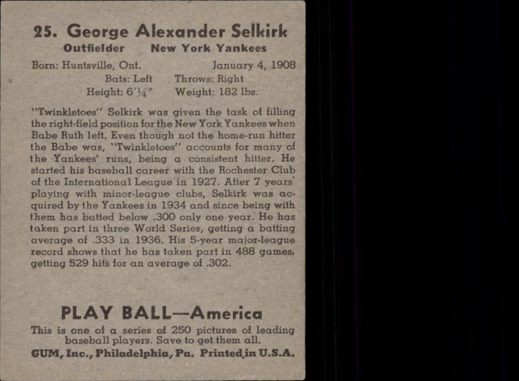 1939 Play Ball #25 George Selkirk RC back image