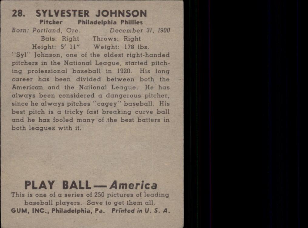 1939 Play Ball #28 Sylvester Johnson RC back image