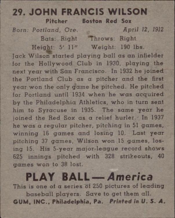 1939 Play Ball #29 John(Jack) Wilson RC back image