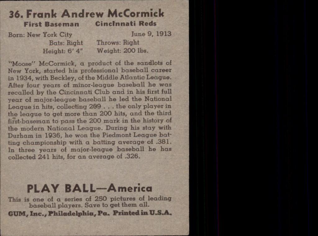 1939 Play Ball #36 Frank McCormick RC back image