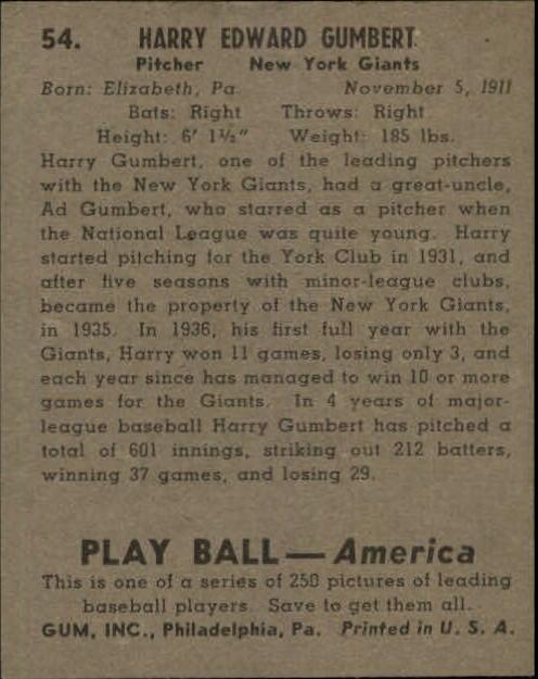 1939 Play Ball #54 Harry Gumpert RC back image
