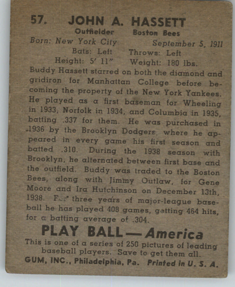 1939 Play Ball #57 Buddy Hassett RC back image