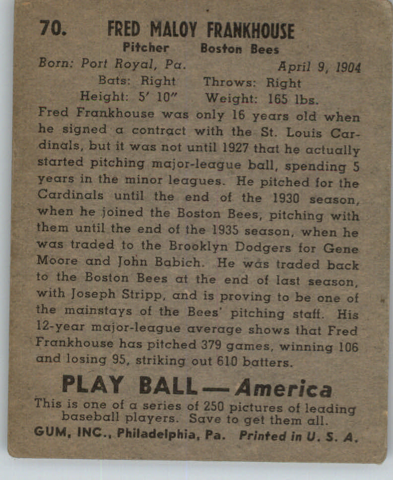 1939 Play Ball #70 Fred Frankhouse back image