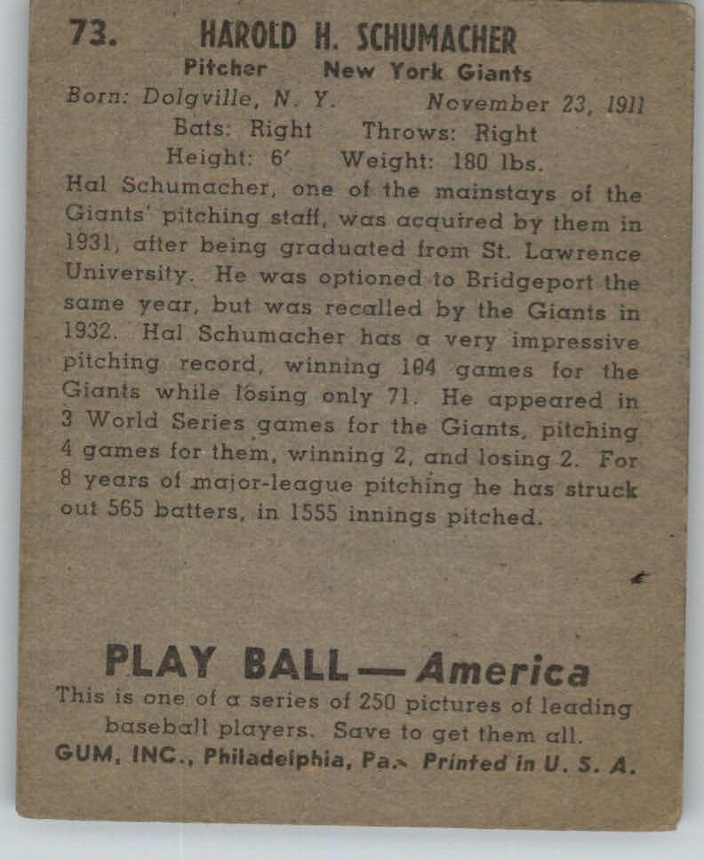 1939 Play Ball #73 Hal Schumacher back image