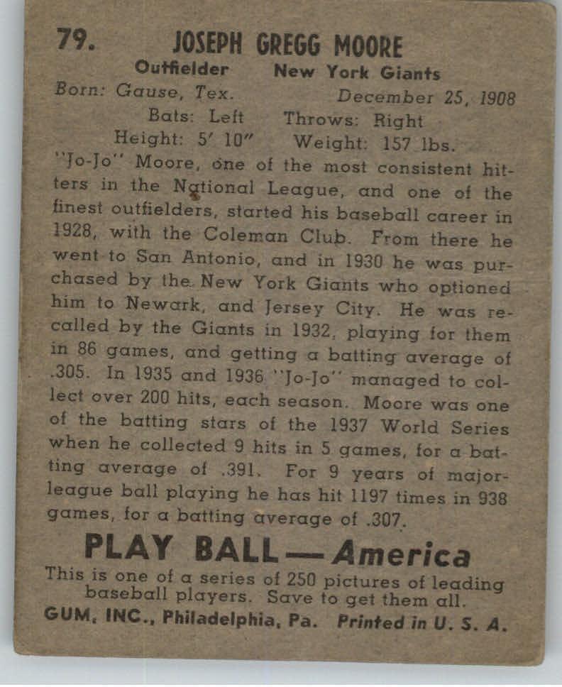 1939 Play Ball #79 Jo Jo Moore back image
