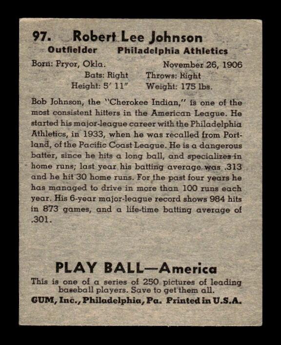 1939 Play Ball #97 Bob Johnson back image