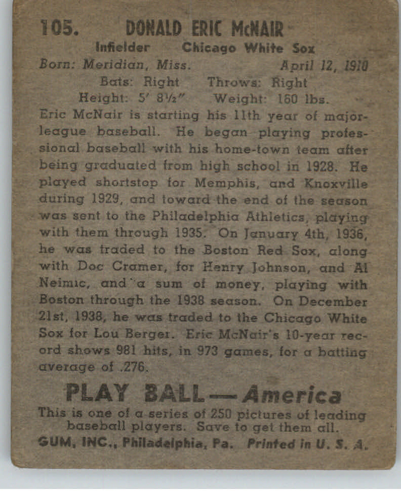 1939 Play Ball #105 Rabbit McNair RC back image