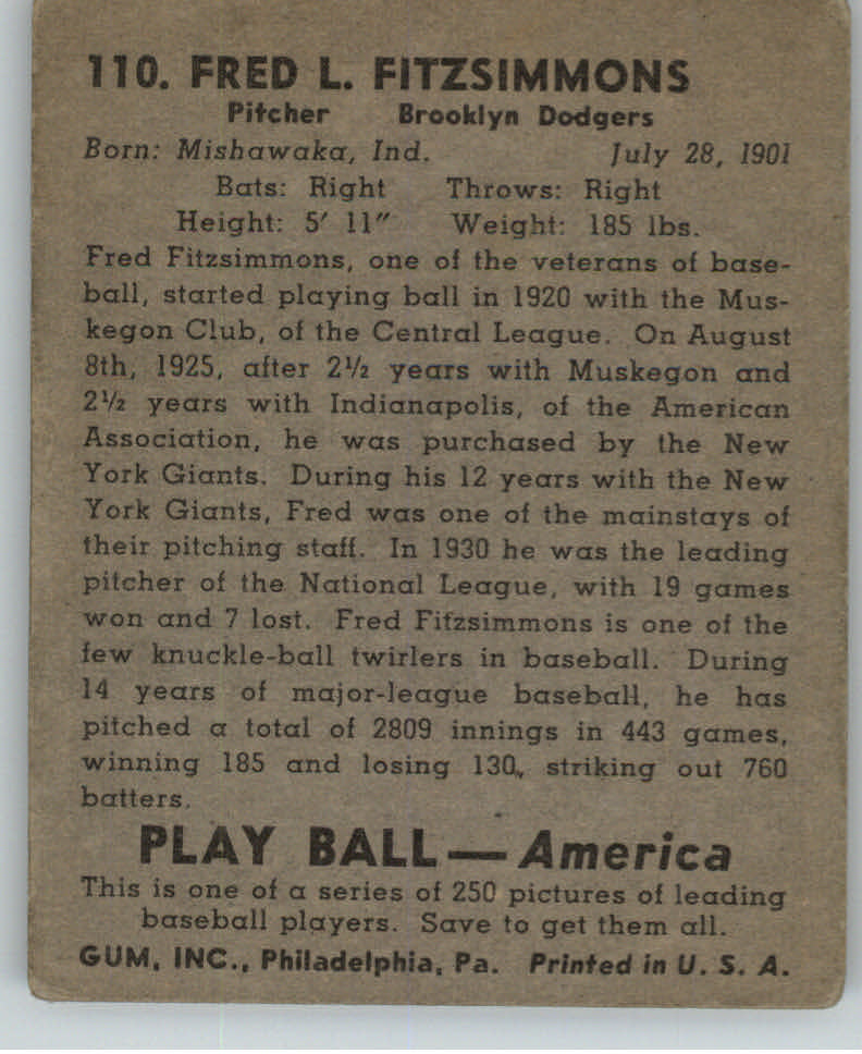 1939 Play Ball #110 Fred Fitzsimmons back image