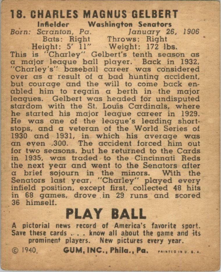 1940 Play Ball #18 Charlie Gelbert back image