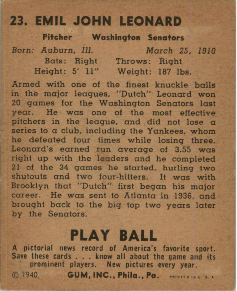 1940 Play Ball #23 Dutch Leonard back image