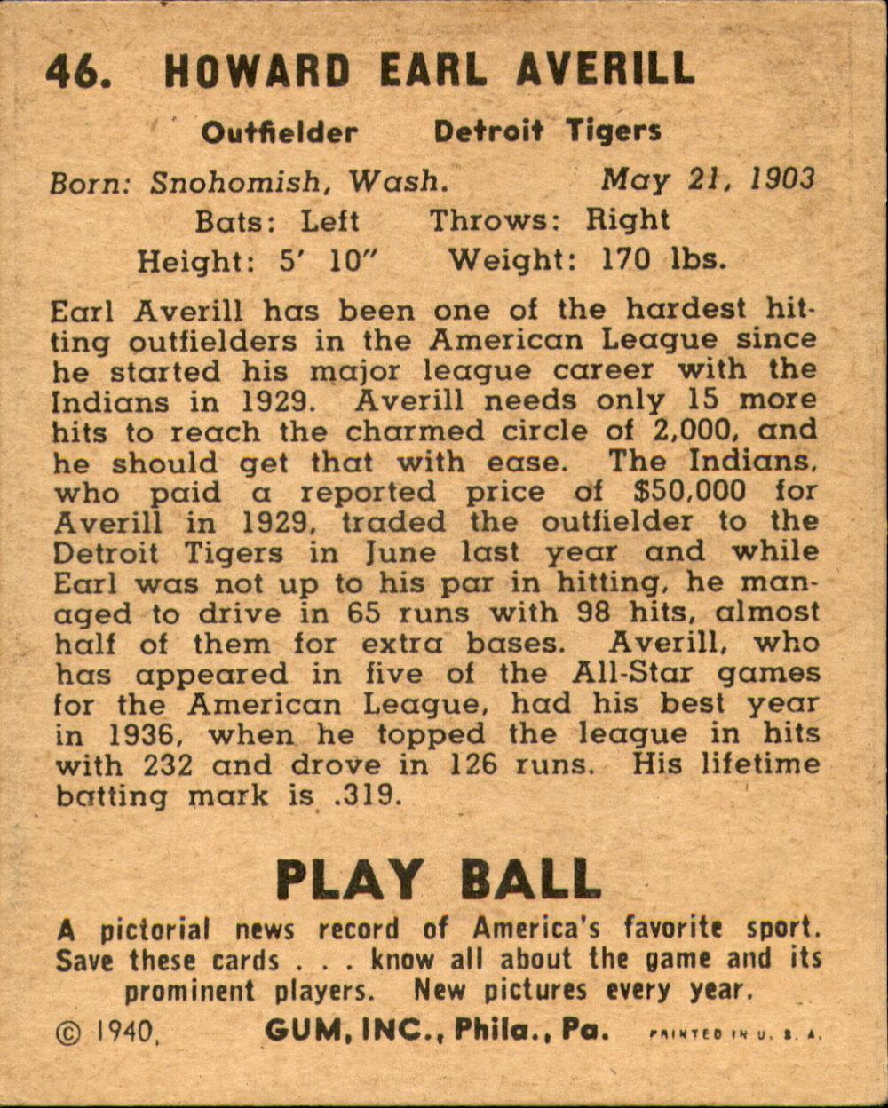 1940 Play Ball #46 Earl Averill back image