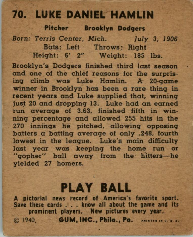 1940 Play Ball #70 Luke Hamlin/(Hot Potato) back image
