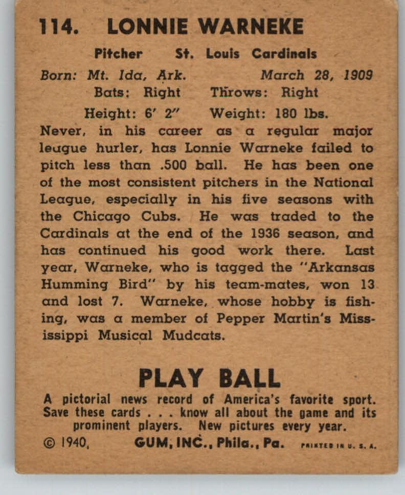 1940 Play Ball #114 Lon Warneke back image