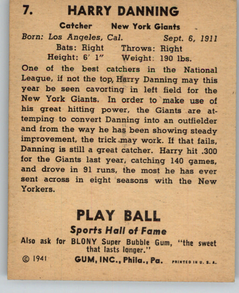1941 Play Ball #7 Harry Danning back image