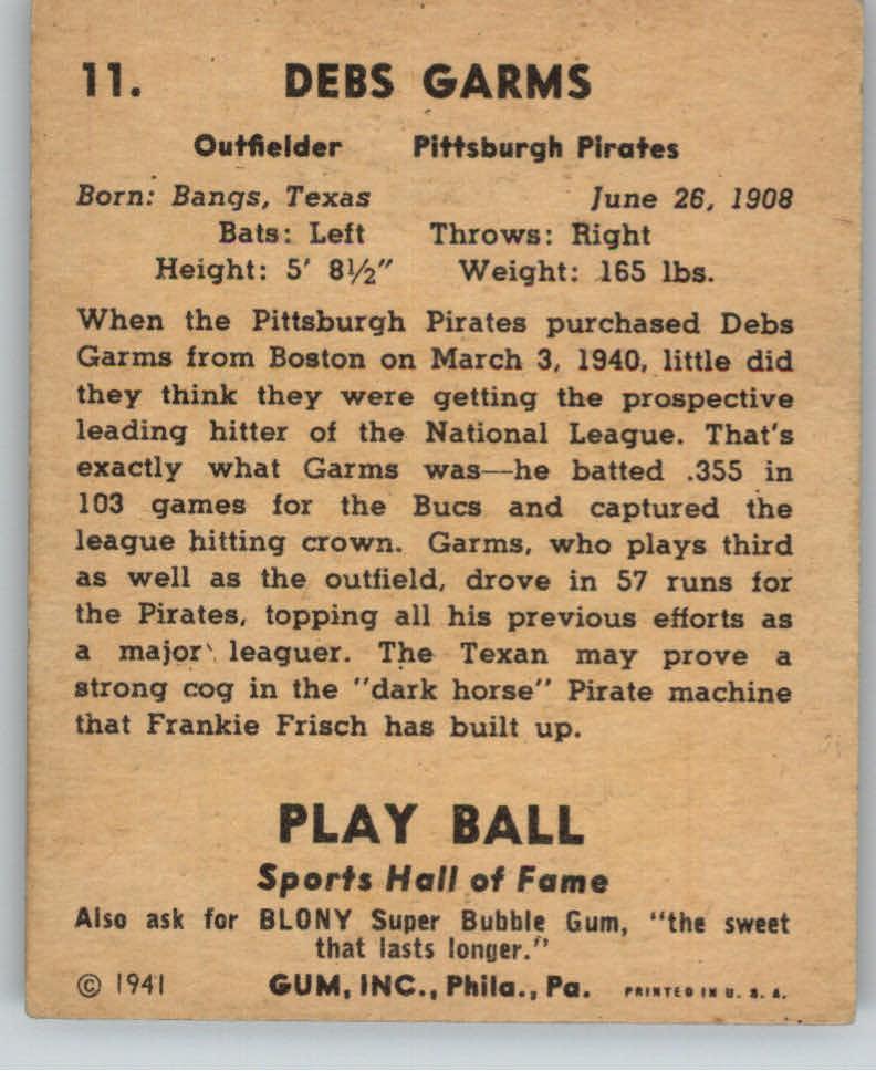 1941 Play Ball #11 Debs Garms back image