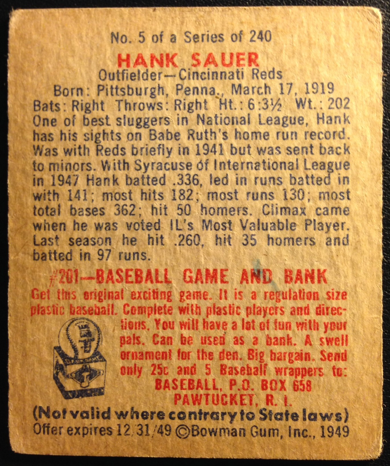 1949 Bowman #5 Hank Sauer back image