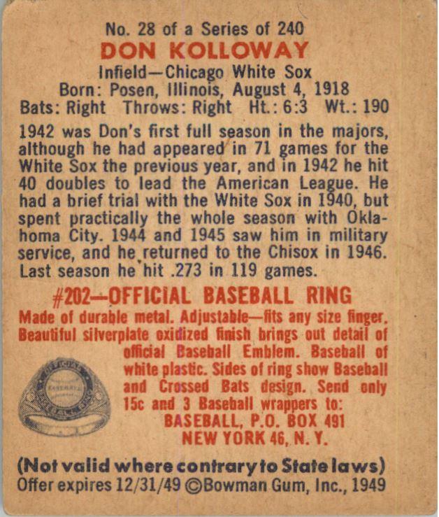 1949 Bowman #28 Don Kolloway RC back image