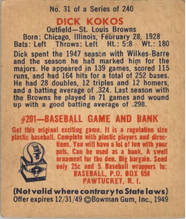 1949 Bowman #31 Dick Kokos RC back image