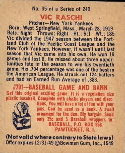 1949 Bowman #35 Vic Raschi RC back image