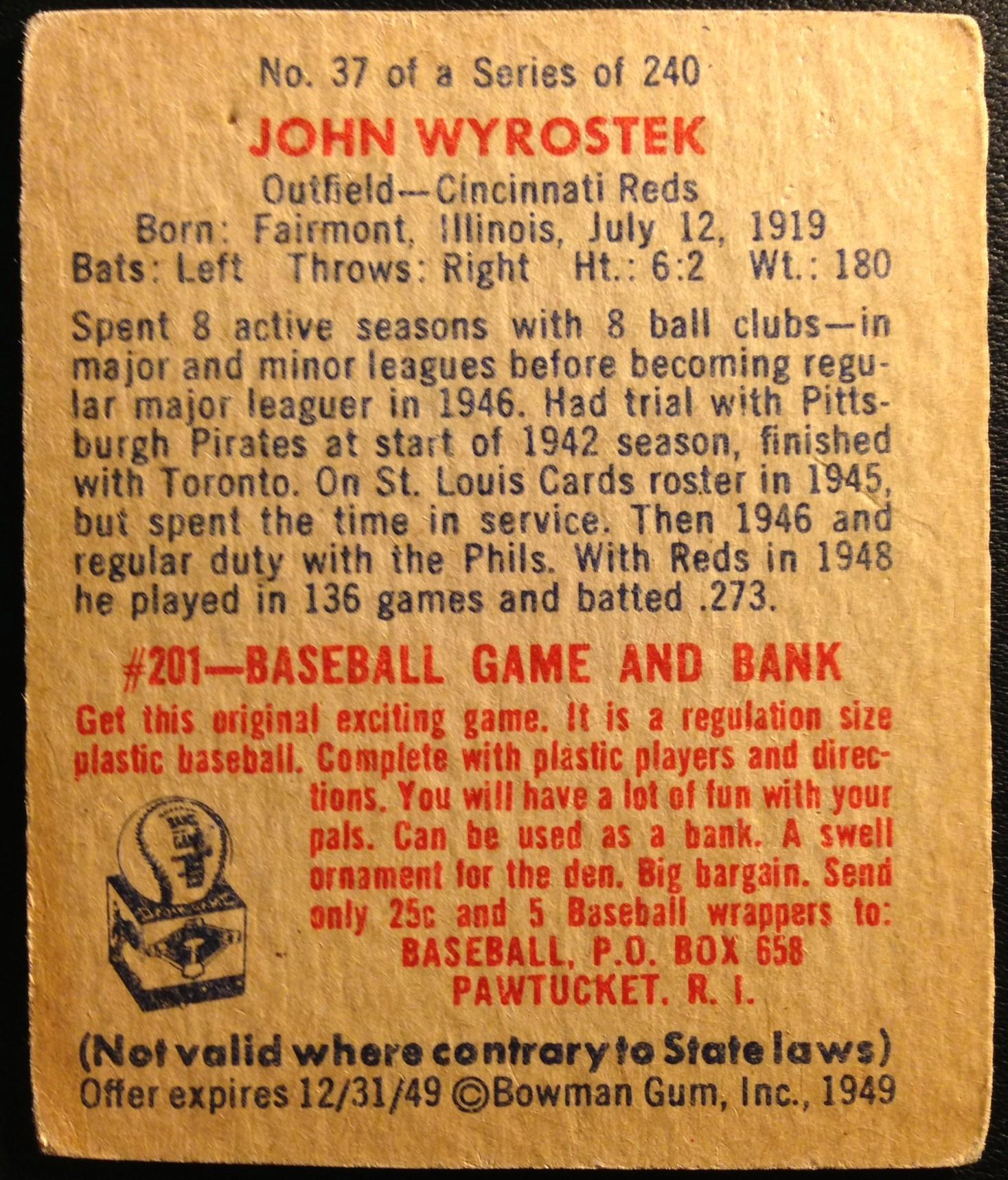 1949 Bowman #37 Johnny Wyrostek back image