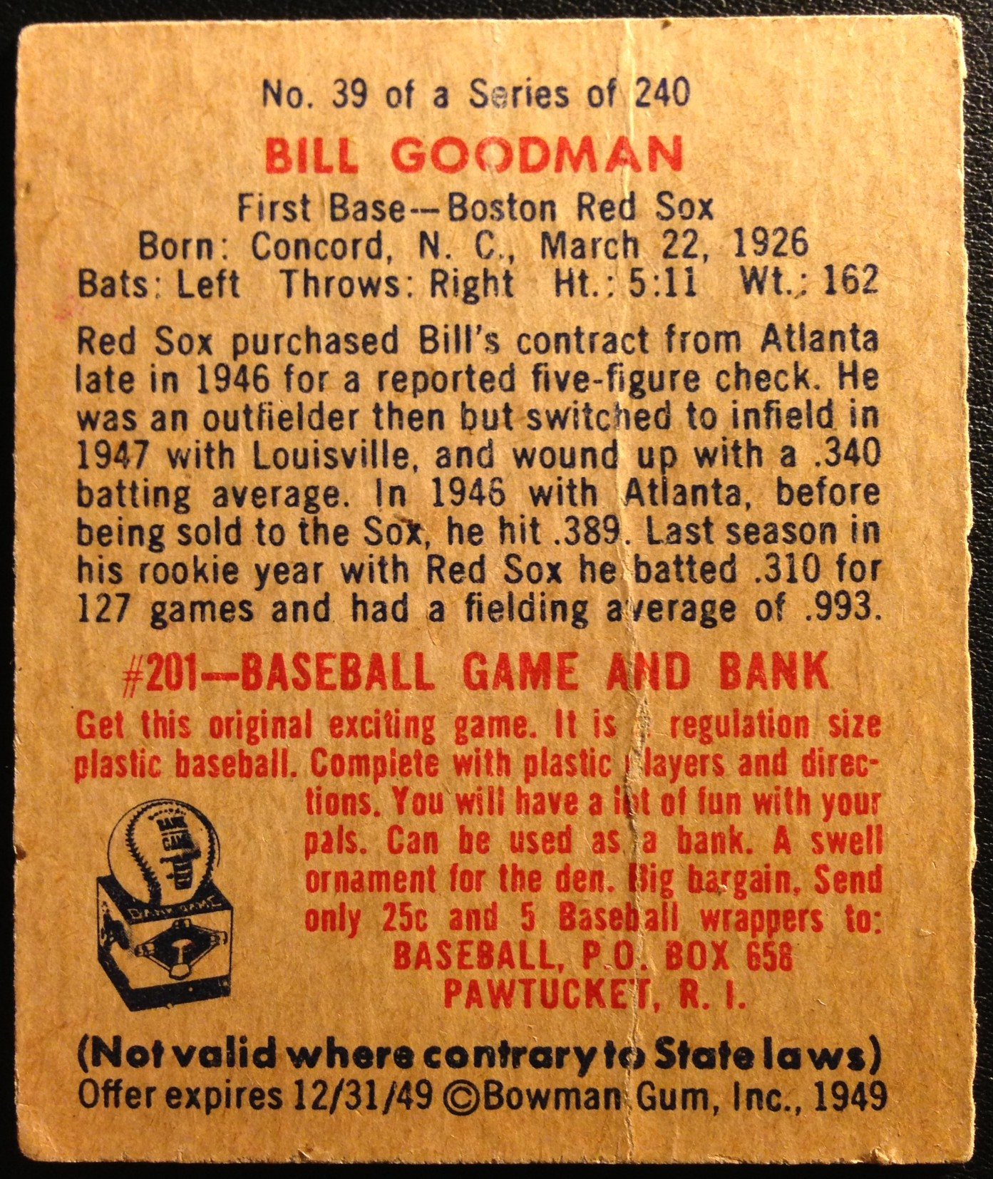1949 Bowman #39 Billy Goodman RC back image