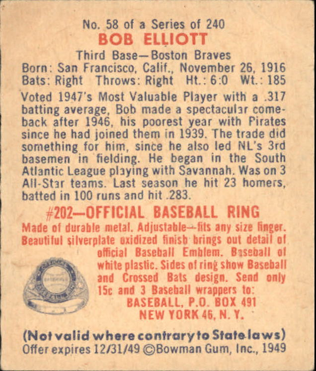 1949 Bowman #58 Bob Elliott back image