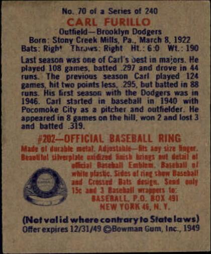 1949 Bowman #70 Carl Furillo RC back image