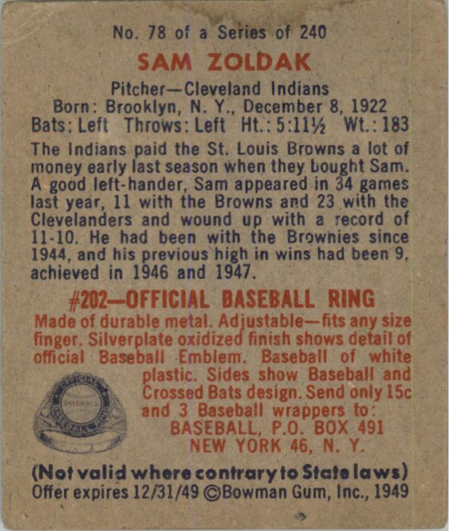 1949 Bowman #78A Sam Zoldak NNOF RC(no player name on front) back image