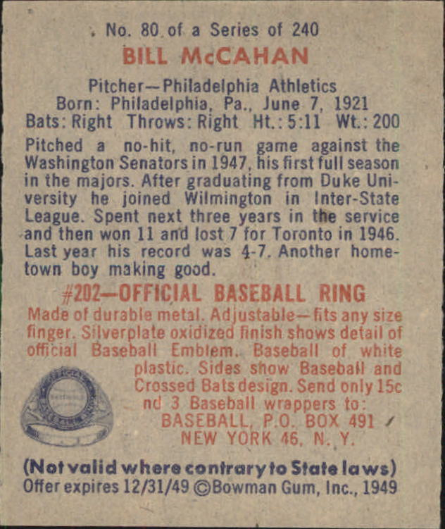 1949 Bowman #80 Bill McCahan back image