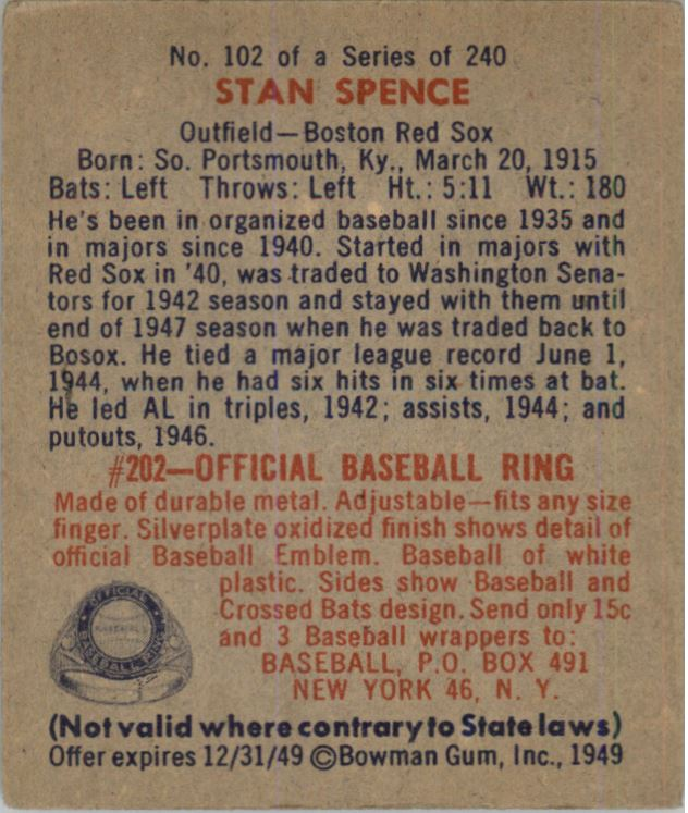 1949 Bowman #102 Stan Spence RC back image