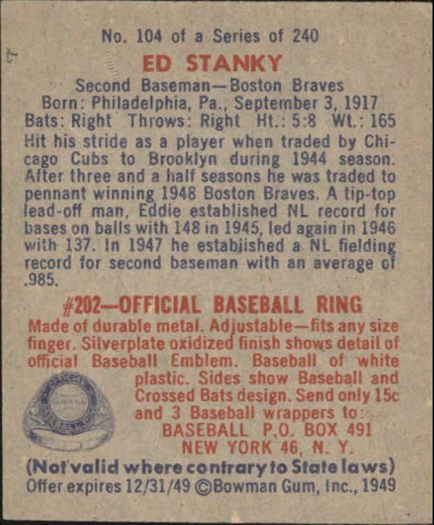1949 Bowman #104 Eddie Stanky RC back image