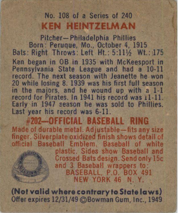 1949 Bowman #108 Ken Heintzelman RC back image