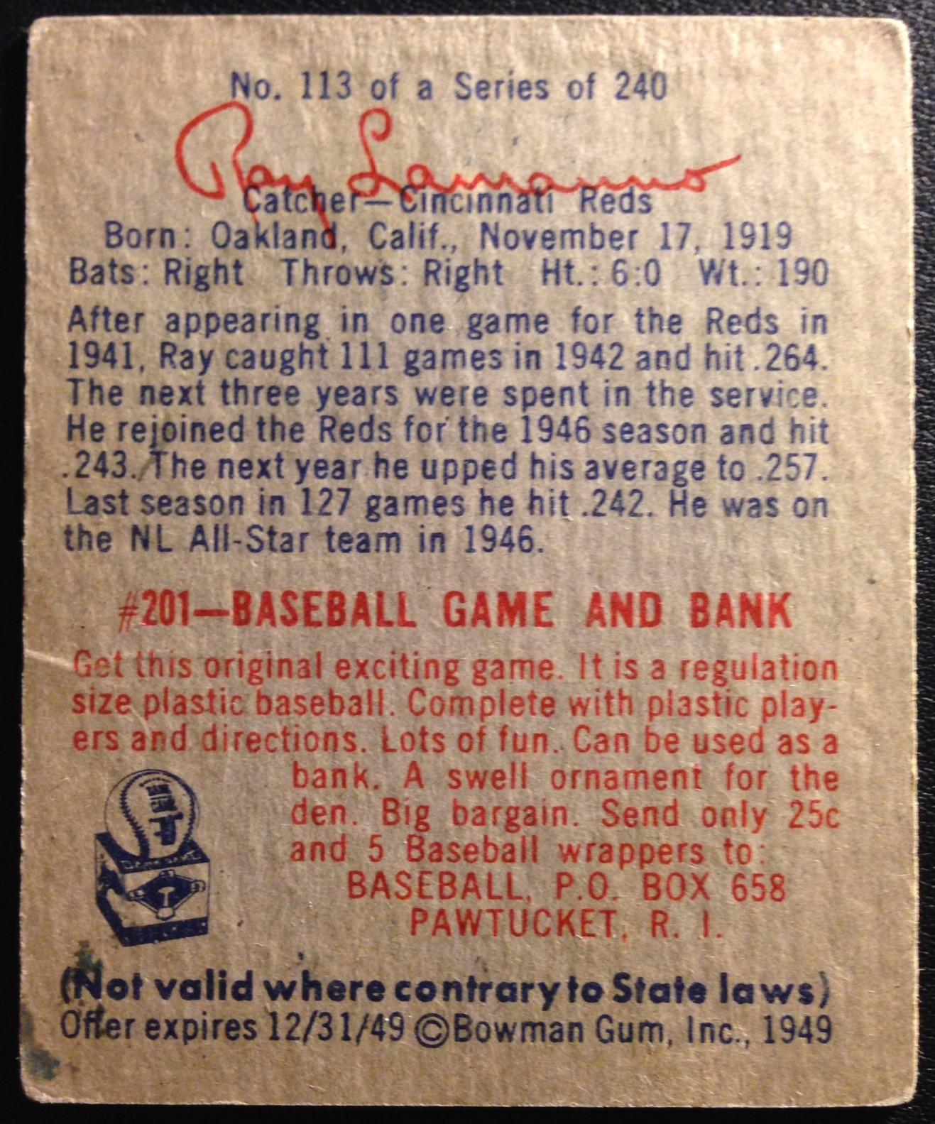 1949 Bowman #113 Ray LaManno RC back image