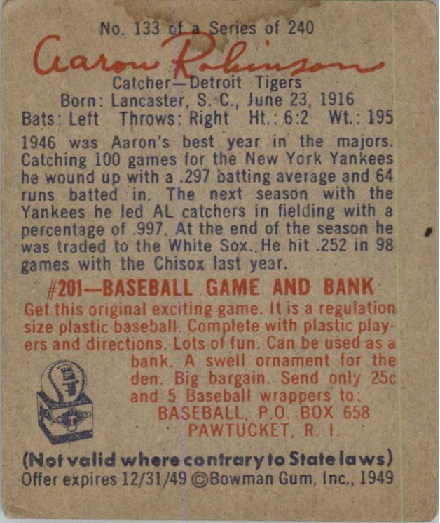 1949 Bowman #133 Aaron Robinson RC back image