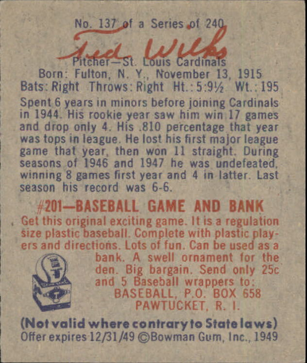 1949 Bowman #137 Ted Wilks RC back image