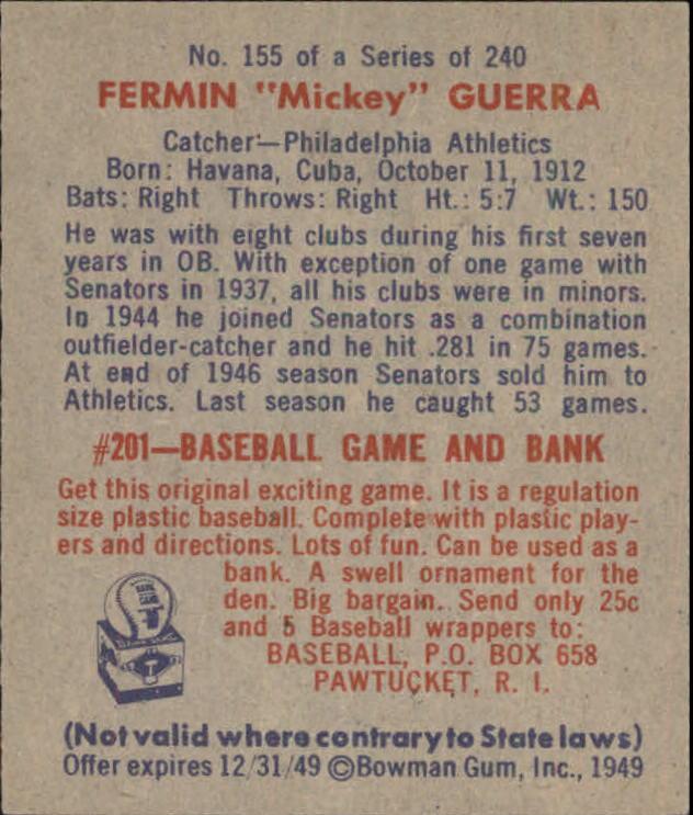 1949 Bowman #155 Mickey Guerra RC back image