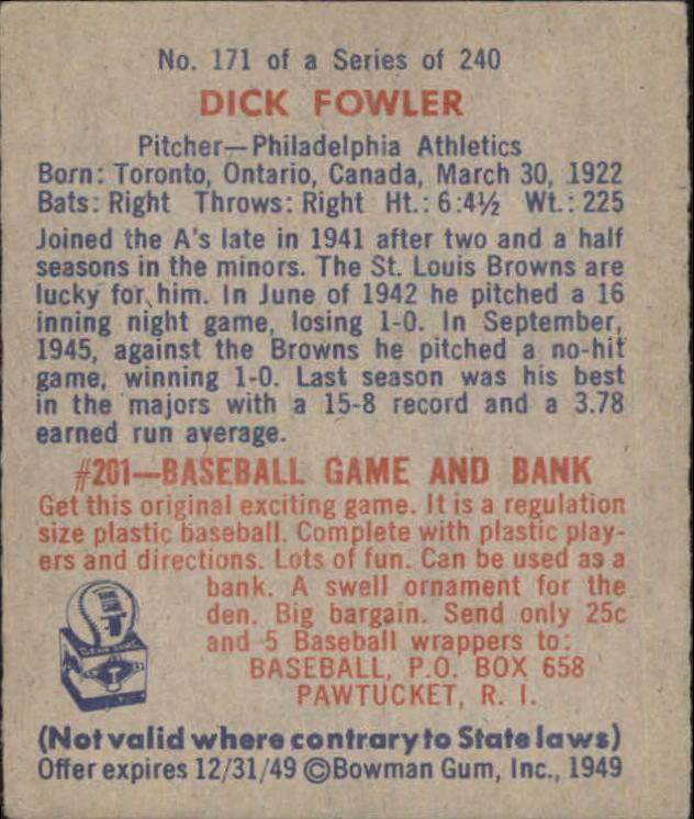1949 Bowman #171 Dick Fowler RC back image