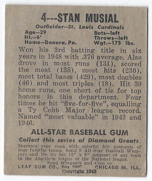 1949 Leaf #4 Stan Musial back image