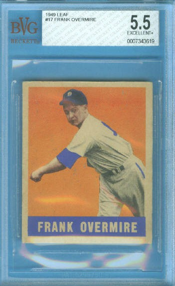 1949 Leaf #17 Frank Overmire RC